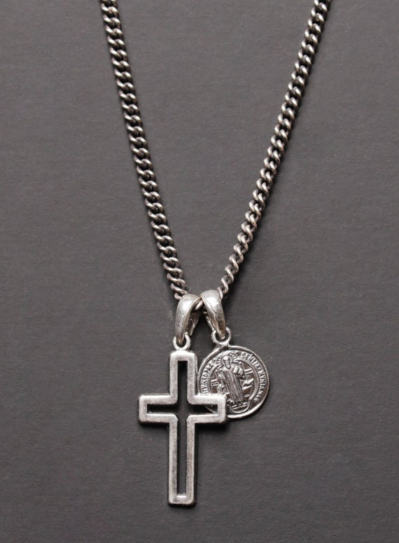 """.925 Sterling Silver St Benedict Crucifix Pendant Necklace For Men On 24/"""" Chain"""