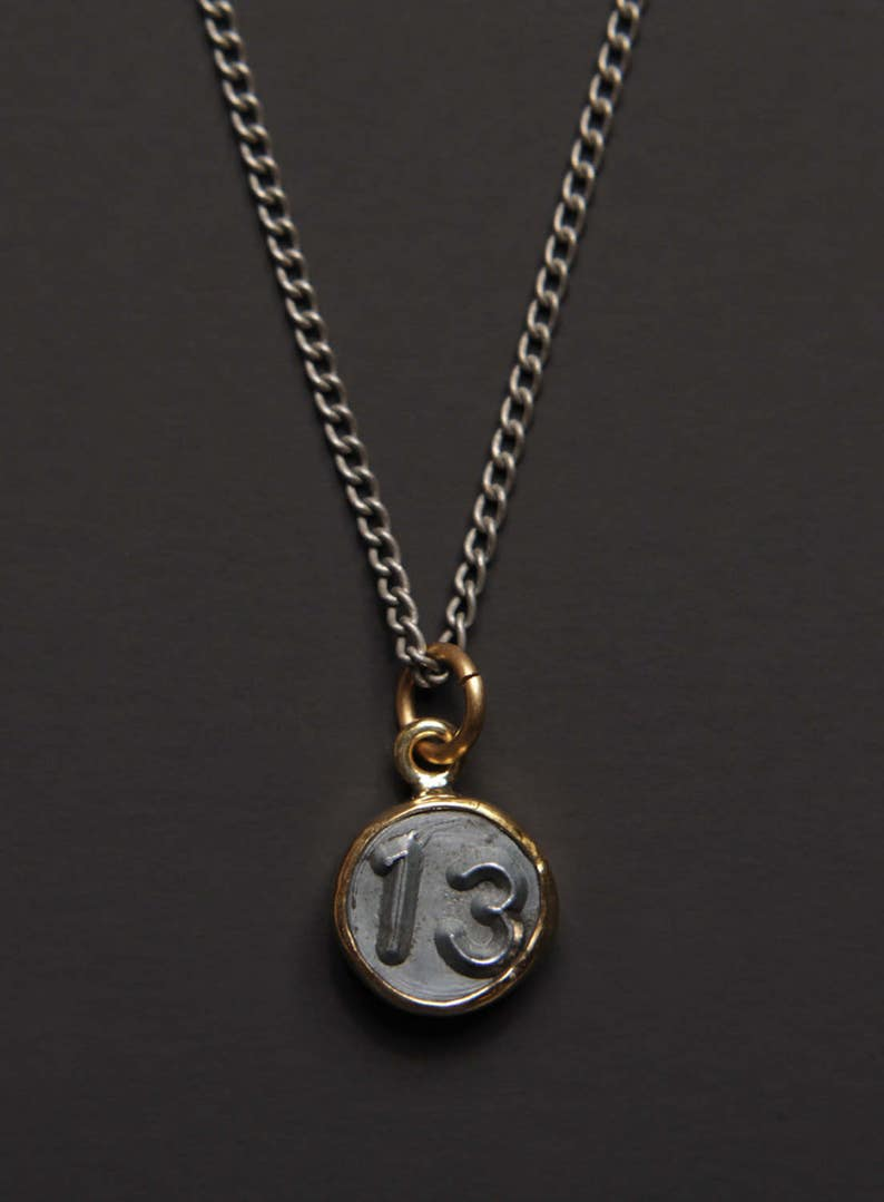 Necklaces for Men - Numerology - Number 13 Necklace - Personalized Men  Jewelry - Mens Jewelry - Number Thirteen Pendant - men silver chain