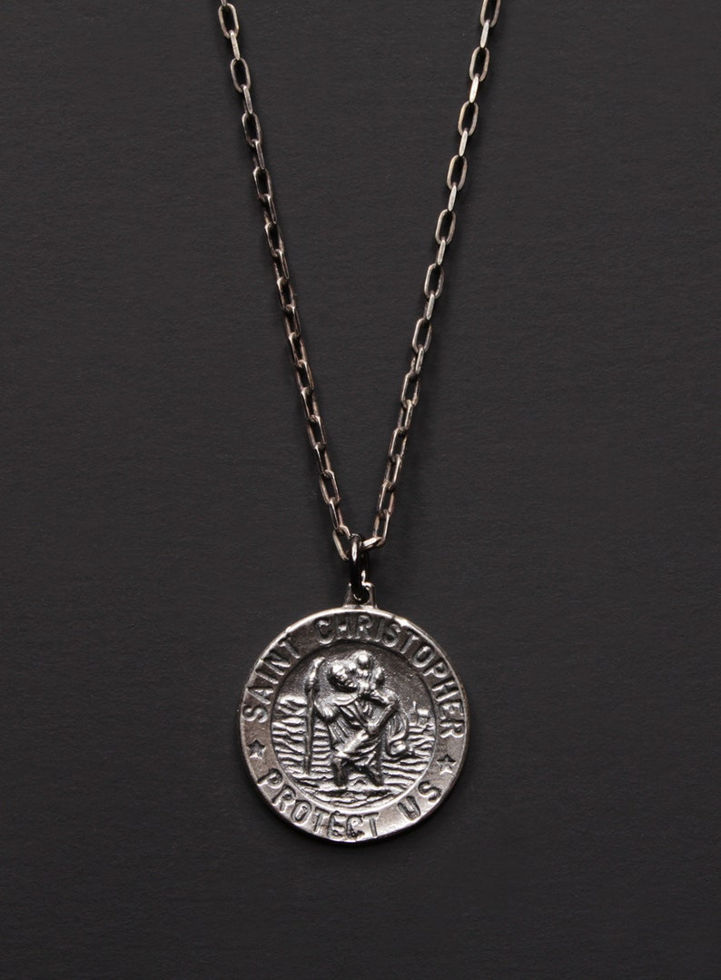 e1725ada688 Silver St. Christopher Medal Necklace for Men Sterling | Etsy