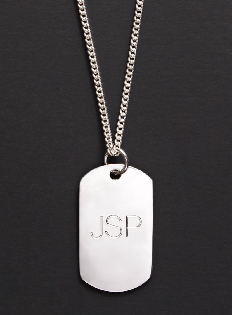 43bdc2ef2482 Custom sterling silver dog tag necklace for men - Personalized initials,  monogram, name, custom message pendant necklace - custom dog tags