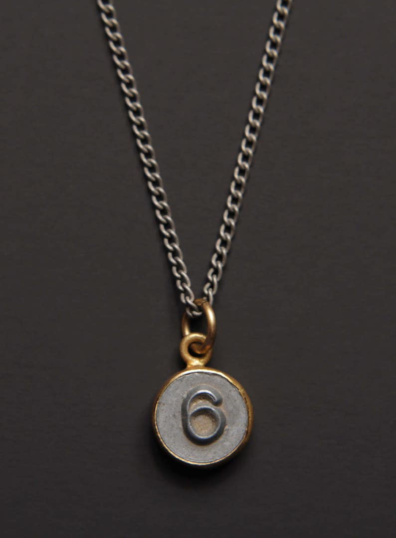 Necklaces for Men - Numerology - Number 6 Necklace - Personalized Men  Jewelry - Mens Jewelry - Number Six Pendant - silver chain for men