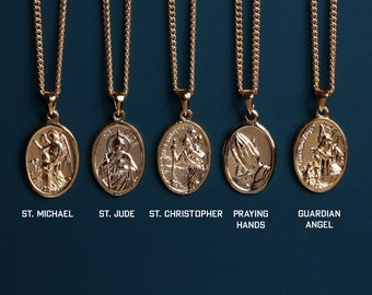 Gold Saint Michael, St. Jude, St. Christopher, Praying Hands, Guardian Angel Oval Religious Medal Necklace for Men - Gifts for Him