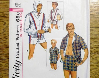 d213e7551d RETRO 1960s Mens Hooded Jacket / Windbreaker & Swim Trunks - Choose Size  (Small or Large) - VINTAGE Sewing Pattern Simplicity 5997