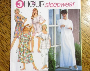 EASY 3 Hour Sleepwear  Empire Line Baby Doll Nightgown   Leggings - Size  (Pt - S - M) - UNCUT ff Sewing Pattern Simplicity 8094 5a56100d2