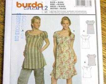 b3efd1faaa4ed BOHO Empire Line Peasant Dress or Top, DIY Maternity Clothing - Plus Size ( 10 - 22) - UNCUT ff Sewing Pattern Burda 8377
