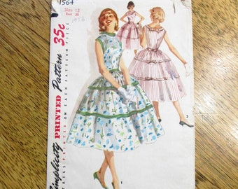 2f09101640 PRETTY 1950s Mid Century Modern Sleeveless Dress w  Full Gathered Skirt -  Size 12 (Bust 30