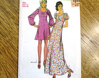 f139645c9ac SEXY 1970s Empire Line MAXI or Mini Dress w  Puff Sleeves (Lolita Style) -  Choose Your Size - VINTAGE Sewing Pattern Simplicity 9446