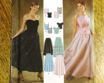 ELEGANT Evening Gown - Top w/ Sweetheart Neckline & Paneled Dirndl Skirt - CHOOSE Your Size - UNCUT ff Sewing Pattern Simplicity 9945