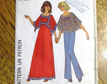 d26f1dfdb9f BOHO 1970s Handkerchief Top / 70s Gypsy Maxi Dress - Junior Size Small (7/8  - 9/10) - UNCUT ff Vintage Sewing Pattern Simplicity 7772
