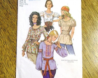 "1970s BOHO Chemise w/ Lantern Sleeves / EASY Hippie Shirt / Peasant Top - Size 12 (Bust 34"") - VINTAGE Sewing Pattern Simplicity 9313"
