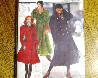 VINTAGE 1990s Double Breasted Trench Coat / Princess Seamed Fit and Flare Jacket - All Sizes (8 - 18) - UNCUT ff Sewing Pattern Burda 4127