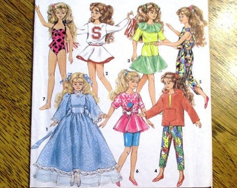 """Skipper & Courtney's Wardrobe - MODERN Clothes for 10"""" Fashion Doll, Barbie's Little Sister - UNCUT Sewing Pattern Simplicity 7600"""