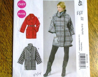 FUNKY Boxy Jacket w/ Asymmetrical Collar / BOHO Wool Winter Coat - Plus Size (Lrg - Xlg - Xxl) - UNCUT ff Sewing Pattern McCalls 6445