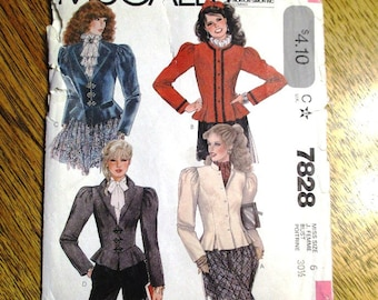 """VINTAGE 1980s Fitted Jacket w/ Peplum & Leg O Mutton Sleeves (STEAMPUNK Coat) - Size 6 (Bust 30.5"""") - UNCUT ff Sewing Pattern McCalls 7828"""