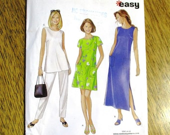 332811a7bc3cef EASY A Line Tunic Top, Summer Shift Dress, Cute Dress w/ Patch Pockets -  All Sizes (S - Xxl) - UNCUT ff Sewing Pattern New Look 6602