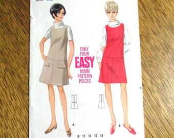 "MOD 1960s Drop Waist A-Line Dress / EASY 60s Color Block Jumper - Size 12 (Bust 32"") - VINTAGE Sewing Pattern Butterick 4590"
