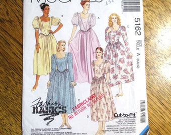 VINTAGE 1990s PRINCESS Gown w/ Sweetheart Neckline / Neo-Victorian Look Gown - Size (6 - 8 - 10) - UNCUT ff Sewing Pattern McCalls 5162