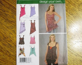 f3c7f39c3 DESIGN Your Own Sexy Summer Tank Top: BOHO Empire Line Fairy Flutter Top -  Size (12 - 18) - UNCUT ff Sewing Pattern Simplicity 4750