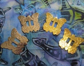 BUTTERFLY Shaped Conchos - Wholesale 10 pc Lot - Gold Tone - Native American Western Craft Supply