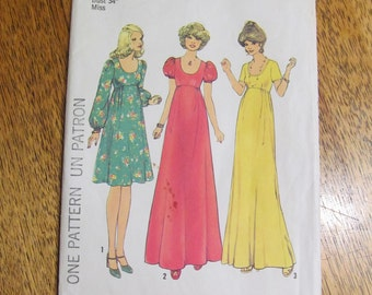 1970s BOHO Empire Line Gown with Puff Sleeves & Low Scoop Neckline - Size 12 - VINTAGE Sewing Pattern Simplicity 7245