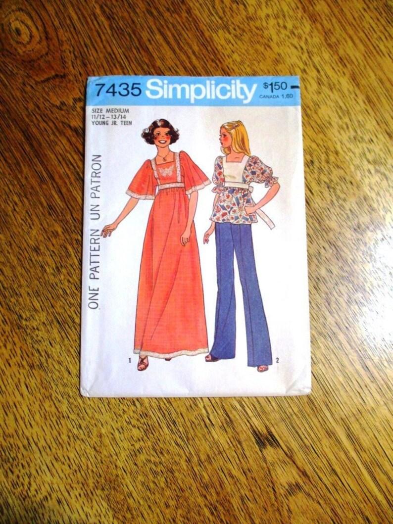 a4bb1d9c794 BOHO 1970s Maxi Dress / LOLITA Empire Top & Pants Jr. Size | Etsy