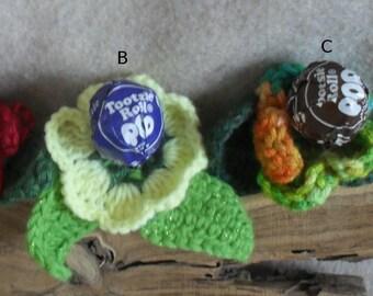 Tootsie Pops Crochet Flower Embellishment Gift Topper Decoration (choose one)