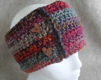 Muiticolor Winter Cowl Scarf, Crochet Neck Head Infinity Scarf heart buttons