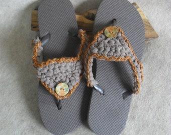 Brown T-rope Flip Flop Sandals: crochet browns gold outline  (large adult 8-10 size)