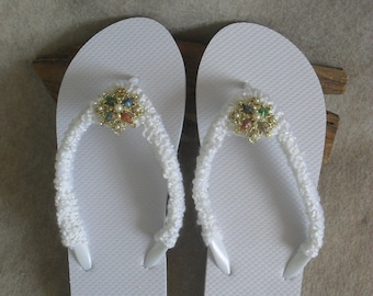 White Boho Flip Flop Sandals: crochet vintage jewelry clip-ons  (large adult 8-10 size)
