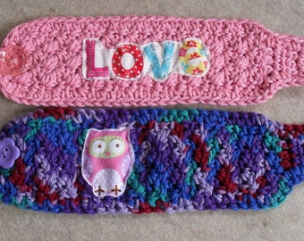 Mug/Soda-can Cozies: crochet multi-colors, pink love mug cozy, purples owl mug/can cozy (choose 1)