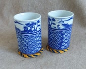 Vintage Sake Teacups Willow-style Nakagama Japan w crochet coasters