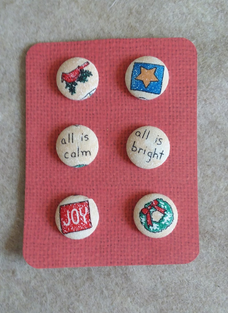 Fabric covered Christmas Design Buttons all calm all bright image 0