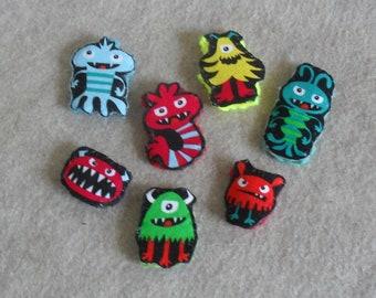 Little Monster Stick Finger Puppet Crochet or Pencil Toppers  (choose 3)