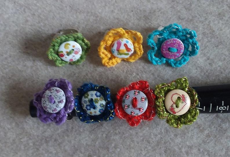 Crochet Button Ring Blings Fun Flower Rings Adjustable Rings image 0