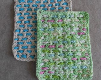 Crochet Cotton Weave Wash Cloths: greens blue pink & beige blue (choose 1)
