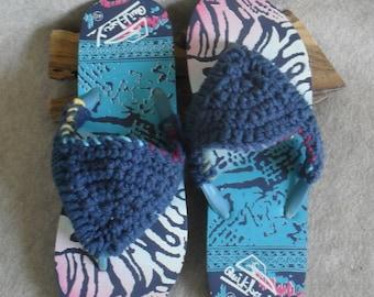 Unisex Blue Flip Flop Slipper Sandals: crochet dark blue yarn  (large adult 8-10 size)