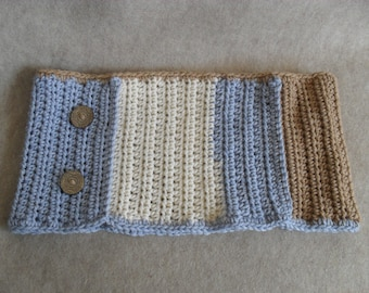 Winter Cowl Scarf, Crochet in blue beige tan Neck Head Infinity Scarf round buttons