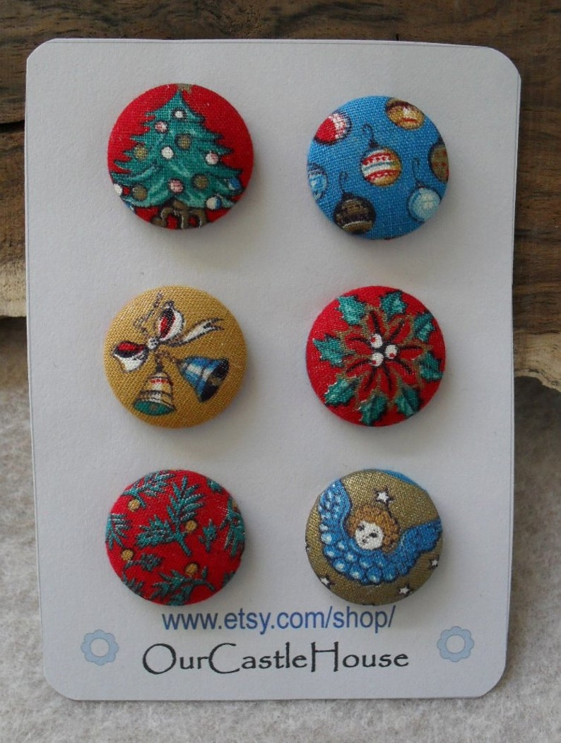Fabric covered Christmas Buttons image 0