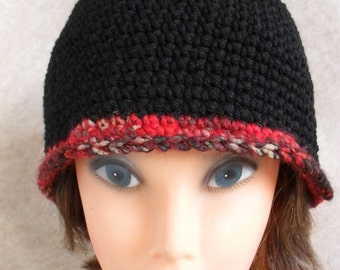 Black Beanie Hat: Crochet red-black wool Brim