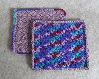 Crochet Cotton Wash Cloths: purples blue maroon green mix  (set of 2)