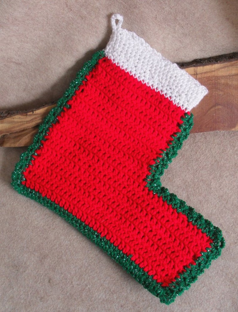 Big Red Christmas Holiday Stocking Green edging White top image 0
