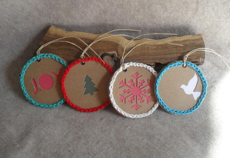 Crochet-edged Round Gift Tags with Tree Snowflake Joy Dove image 0
