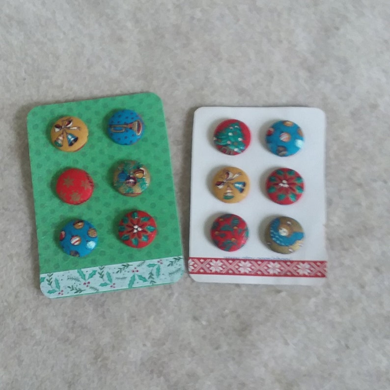 Christmas Buttons Fabric covered  DIY project choose one set image 0