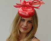 hat in sunset tones with feather and bow detail  ,melbourne cup , derby day