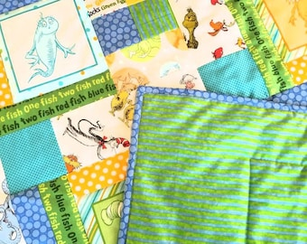 Dr. SUESS Crib Quilt with HORTON, the SNEECHES, and other Dr. Suess characters