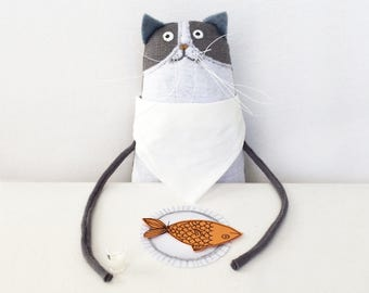 Cat Art Doll, Small Grey and White Kitty, Cat Doll Handmade Soft Sculpture, Special Birthday Gift for Cat Lover, Cat Mom Mother's Day Gift