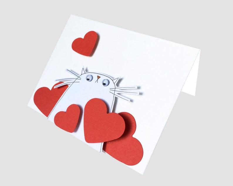 Funny Cat Card I Love Mew Card Cute Cat Card Cat Birthday Card I Love You Handmade Card Pussycat Card I Love you Card