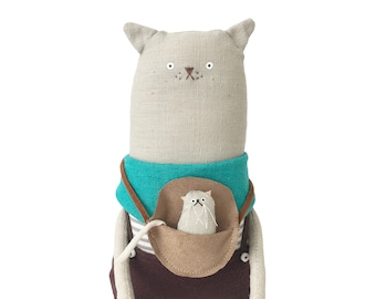 Cat art doll, hand-embroidered grey linen cat doll with satchel and baby kitten, cat lover birthday gift, handmade cat soft sculpture