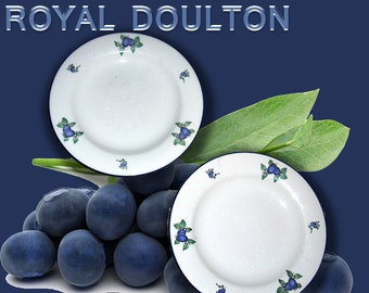 """Royal Doulton """"Blueberry"""" Set of Two Plates. No Shipping Charge for U.S. Shipment"""