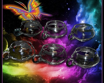 Set of Six Crystal Punch Cups